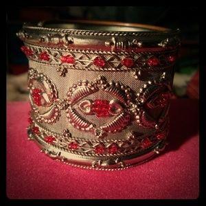 Silver red beaded bracelet